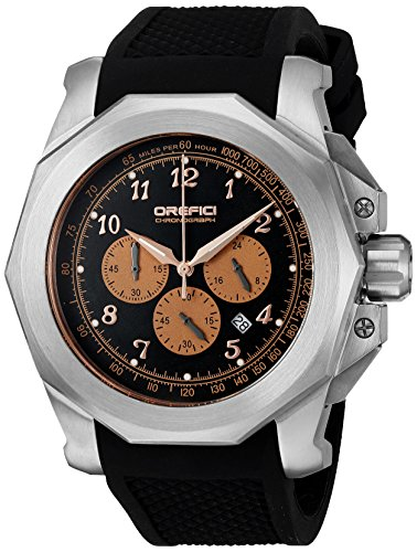 Orefici Quartz Stainless Steel and Rubber Casual Watch, Color:Black (Model: ORM2C4881)