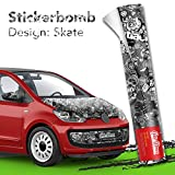30x150cm Stickerbomb Auto Folie in schwarz / weiß Glänzend - Sticker Logo Bomb - JDM Aufkleber - Design: SkateBW