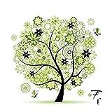 Kit di ricamo a punto croce Aohro fai da te con decorazione fatta a mano di un bellissimo albero primaverile, 45 x 45 cm.