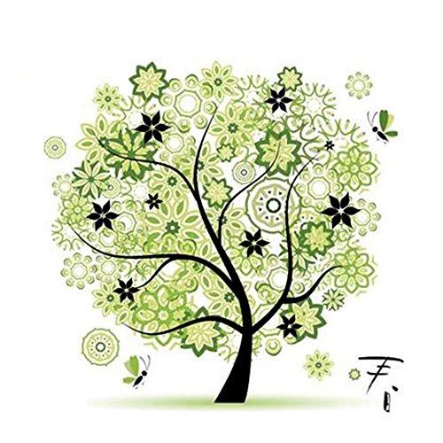 Aohro 45 * 45cm Kreuzstich Stickerei DIY Handarbeit Stickpackung Set Kit Bunte Baum Muster Kreuz Nähen Home Decoration(Seiden-Fäden)