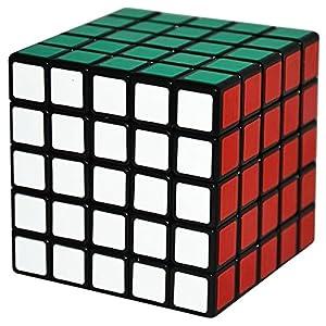 Coolzon® Cubo Magico 5x5x5 Speed Puzzle Magic Cube Velocità Twisty Giocattolo PVC Adesivo 63mm,Nero