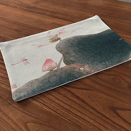 WHHQWER Esterilla de algodón tinta Zen Lotus alfombrilla aislante Rectangular Pad 28*40cm Bowl