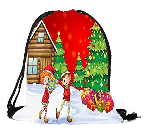 (DAMENGXIANG Cartoon Weihnachten Thema Digital Gedruckt Muster Kordelzug Rucksack Casual Daypack Strand Schuh Aufbewahrungstasche Stil 3)
