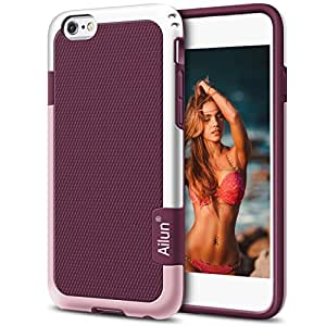 iPhone 6 Case,[4.7inch]by Ailun,Soft TPU Bumper& Solid PC Frame,Slip-Proof Back,Shock-Absorption&Anti-Scratches,Fingerprints&Oil Stains, Protective Back Cover [Purple]