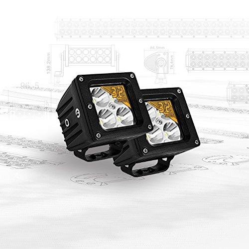 Eyourlife 3,2' 20W 2 Pezzi Spot Faro da Lavoro Luce di profondità Faro Impermeabile LED 12V 4 LEDs Faro LED Luce Fendinebbia Fanale Anteriore LED per 4WD SUV ATV UTV Camion Moto