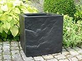 eastwest pflanzkübel Blumenkübel BLOXX 30x30x30cm aus Fiberglas Wie ORIG. Granitgestein in Schwarz