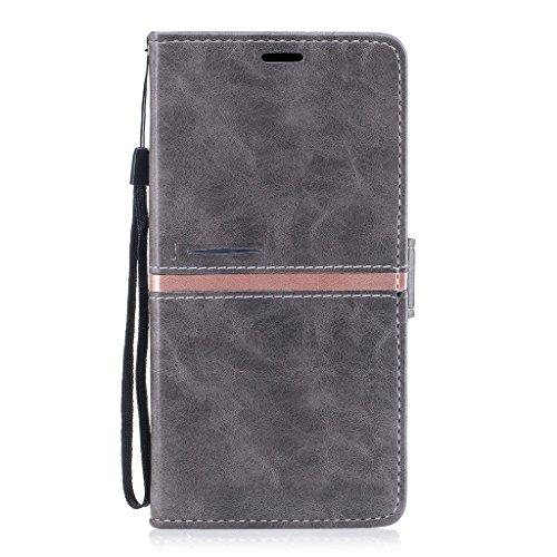 IJIA Hülle für ASUS Zenfone Live ZB501KL Mode Elegant Rein Grau Flip Case Leder Cover PU Lederhülle Schutzhülle Ledertasche mit Zusatzfunktionen Card Slot Schale Tasche