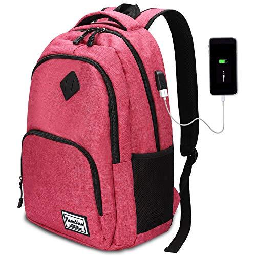 AUGUR Zaino porta PC, Multifunzione Zaino Scuola Portatile da 15.6 pollici Laptop Zaino con porta USB Zaino Business per Donne,35L(Rosa)