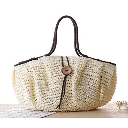 Amuele Damen-Handtasche Große Kapazität Schultertasche Stroh Weave Tasche, Beige (Personalisierte Tragetaschen Bulk)
