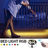 LEBRIGHT Tira De Luz Led Motion Activated Bed light RGB 5050 LED Strip Lighting Illumination with Remote Control Under Cabinet Bedside Lamp