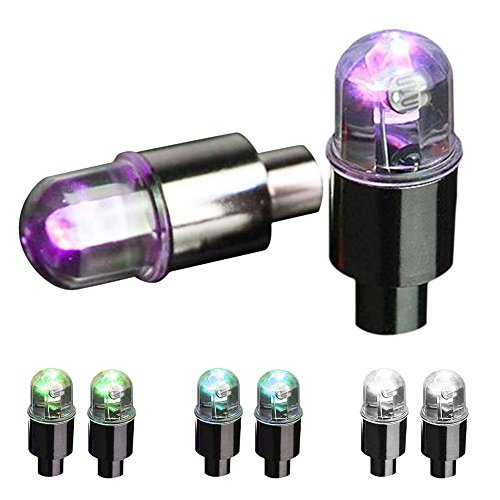 SYN 5 Paia di luci per Ruote, luci LED Colorate Lampeggianti per valvole dei Pneumatici, per Auto, Bici, Moto, Bici – Resistente all'Acqua LED Neon per Pneumatici, Colorato