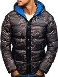BOLF Herrenjacke Winterjacke mit Kapuze Military Jacke Steppjacke STEGOL AK128 Camo-Blau XL [4D4]