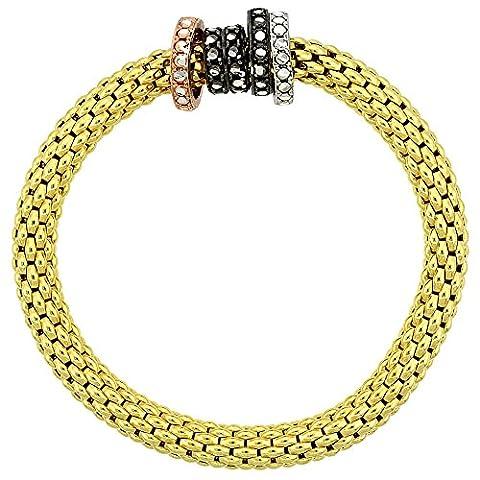 Revoni Sterling Silber 7in. Dehnbar Armreif Armband in gelb gold finish W/Dreifarbige Kreis Bead Charm Akzente, 9/32In. (7mm) (Fashion Stretchable Armband)