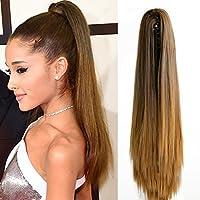 Extensiones para el pelo de Neverland Beauty pelo ondulado recto y largo para coleta con pinza