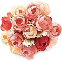Flores artificiales, 18 flores, rosa, camelia, magnolia, peonía, hortensia, decorativas