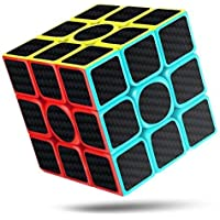 cfmour Cubo de Rubik, 3x3x3 Fibra de Carbono Suave Magia Cubo de Rubik Rompecabezas 3D Cube, Versión Mejorada, 5.7cm (Negro)