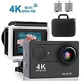 """Action Cam Aktionskamera QZT, 4K 30FPS Ultra HD Wasserfeste Aktions Sport Kamera mit WIFI und Anti-Shake-Stabilisierung, Full HD 2.0""""Bildschirm, 170 Grad Super Weitwinkelobjektiv"""