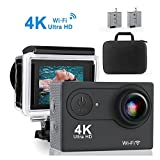 Action Cam Aktionskamera QZT, 4K 30FPS Ultra HD Wasserfeste Aktions Sport Kamera mit WIFI...