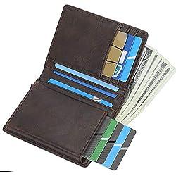 RFID Carte de Crédit Titulaire de Automatique Pop-up en Aluminium Blocage Étui 100% Cuir véritable Entreprise Slim Mini Porte-Monnaie (Brown#1)