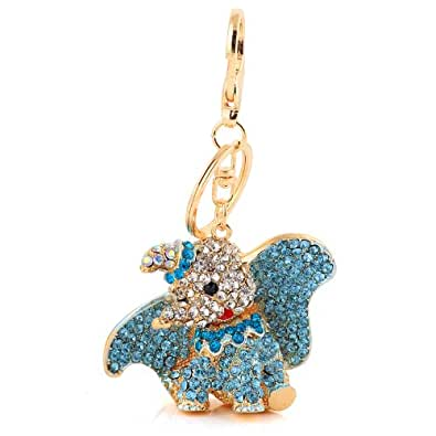 Absolutely Stunning Blue Crystal and Gold Plated Alloy Disney Dumbo Key Ring / Bag Charm