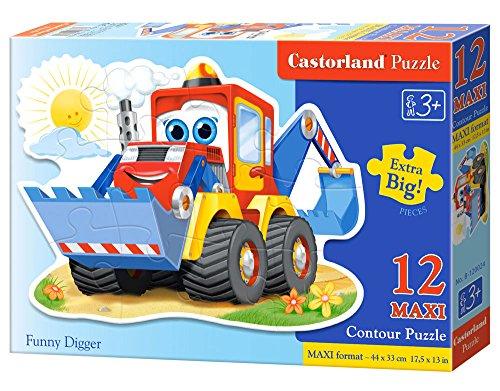 CASTORLAND Funny Digger 12 Maxi pcs Contour Puzzle 12 Pieza(s) - Rompecabezas (Contour Puzzle, Dibujos, Preescolar, Niño/niña, 3 año(s), Interior)