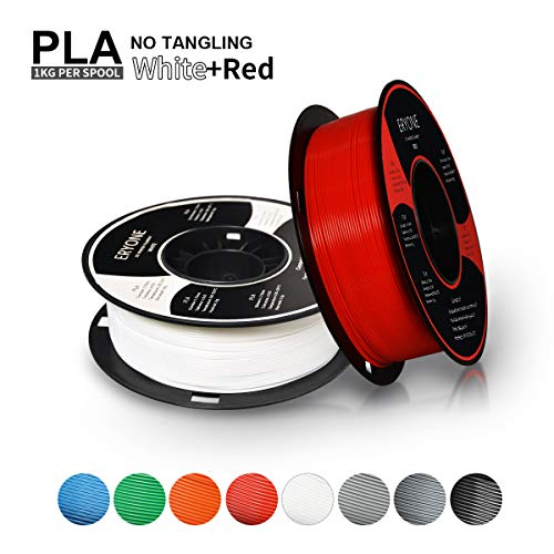 Filament PLA 1.75mm, ERYONE Filament PLA 1.75mm, 3D Printing Filament PLA for 3D printer, 2kg, 2 Spools, (1kg White+1kg Red)