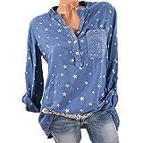 Morbuy Damen Sweatshirt, Casual Pullover Langarm T-Shirt Rundhals Ausschnitt Lose Bluse Oberteil Hemd Oversize Tops Sweatjacke Sport (XL, Blau)