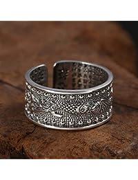 Weiwei Uomini anello anelli S999 Plata Doble Pescado Budista Sutra del corazón Letras Retro Plata Anillo
