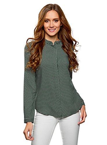 oodji Collection Mujer Blusa de Viscosa Estampada con Cuello Mao, Verde, ES 38 / S