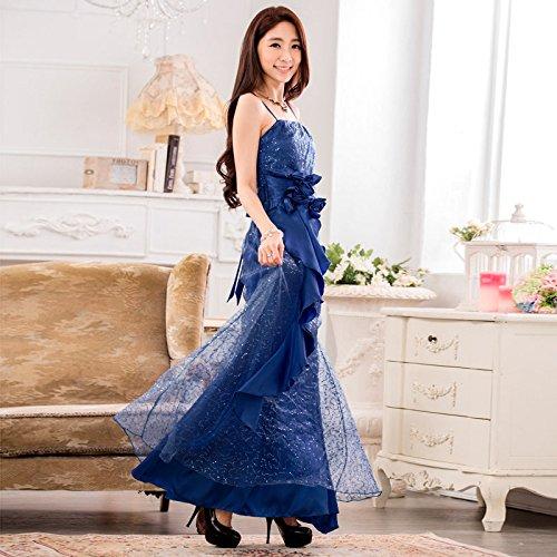 PLAER femmes Cocktail robe de bal robe de soirée de mariage gaze dressLong Sling robe Bleu Marine