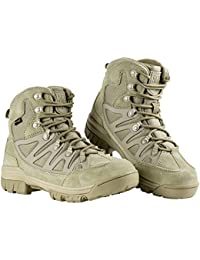 FREE SOLDIER Men Tactical Boots Mid High Rise Hiking Shoes Winter Leather Boots