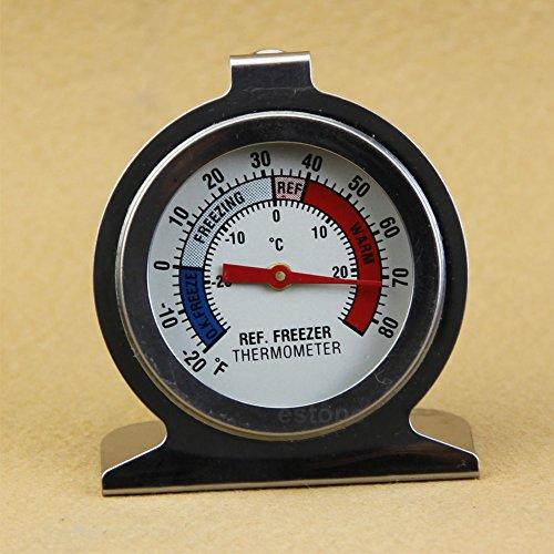 Qiulip Edelstahl-Thermometer für Kühlschrank/Gefrierschrank -