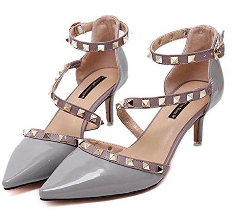 GS~LY Chaussures de haut talon femmes fait des chaussures à talon rivets creux White