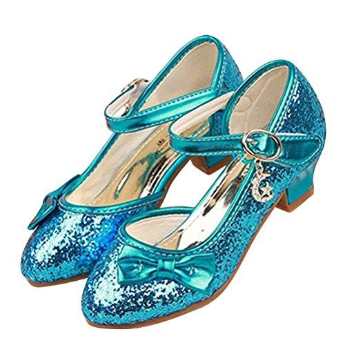 Brinny Princesse Fille Ballerines Chaussures à haut talon Sequin tête fermée Déguisement Sandale Pour Mariage Cérémonie Communion et baptême Taille: 28-38 Bleu