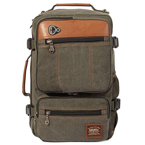 LOBTY Herren Reisen Camping Wandern Außen Rucksack Taschen Rucksäcke Herren Damen Vintage Canvas Rucksack Retro Schulrucksack mit Der Großen Kapazität Grün