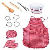 KOBWA 11pcs Kochset Chef Kostüm Kinder Küchenkostüm Rollenspiele, Mädchen Schürze mit Kochmütze, Kochmesser und Ausstecher Rot