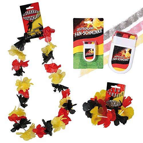 Fan-Schminke & Aloha Kranz & Aloha Armreif 'Deutschlandflagge' | Fanartikel | Public Viewing |...