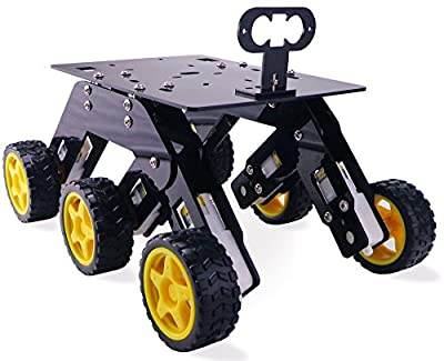 Kit4Curious Acrylic 6 Wheel Drive Curious Chassis for DIY Robotics (Black)