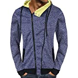 KPILP Herren Mode lässig Herbst Solide Knöpfe Reißverschluss Kapuzen-Sweatshirt Outwear Oberteile Bluse Sportbekleidung(Blau, M)