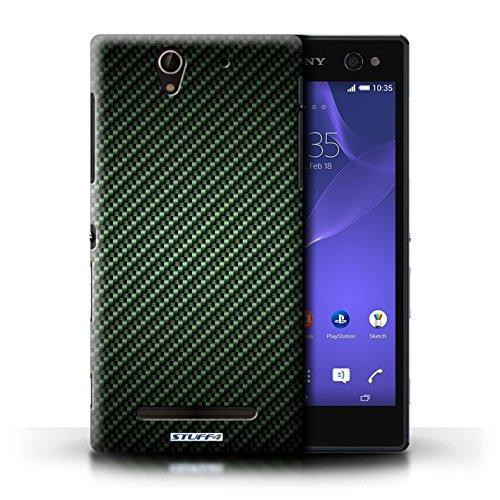 Kobalt® Imprimé Etui / Coque pour Sony Xperia C3 / Pourpre conception / Série Motif de Fibre de Carbone Vert
