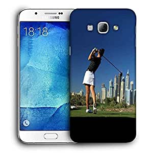 Snoogg Girl Playing Golf Printed Protective Phone Back Case Cover For Samsung Galaxy A8