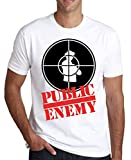 MaikesTic Public Enemy Black and Red Logo Graphic Design Men's T-Shirt Large