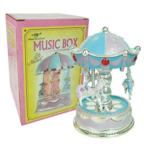 eluhr,Simulieren Karussellform Licht Spielzeug für Kuchen Dekoration Handwerk,Blau und Lila ()