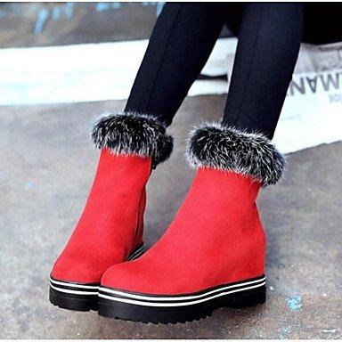 RTRY Scarpe da donna in pelle di Nappa inverno moda Stivali Stivali tacco Chunky Babbucce/stivaletti di abbigliamento casual Rosso Nero US6.5-7 / EU37 / UK4.5-5 / CN37