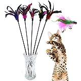 Demarkt 5X Katzenangel Federwedel Katzenspielzeug mit Glocke Katze Spielzeug mit Federn zufällige Farbe 60cm (5 Stück)