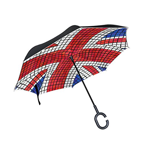 COOSUN UK Flag Union Jack Mosaic Double Layer Inverted Umbrella Reverse Umbrella for Car and Outdoor Use Rain Windproof Waterproof UV Protection Big Straight Umbrella With C-Shaped Handle