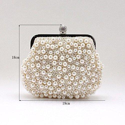 Neue Handtaschen Mini-Diamant-Abendtasche mano Perlen Tasche Abendtasche ( Colore : Nero ) Beige