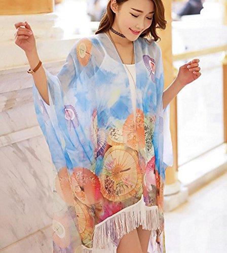 Ylen Parasol Imprimé Gland Etoles Bikini Maillot de bain Cover Up Printemps été Châle de plage Écharpe Beachwear Bleu