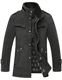 Yasong Men's Teenager's Wool Jacket Overcoat Stand collar Trench Coat Peacoat