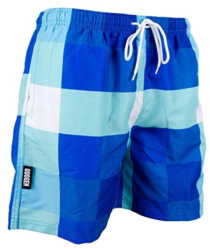 GUGGEN Mountain Herren Badeshorts Beachshorts Boardshorts Badehose Schwimmhose Männer blau kariert Print* Farbe kariert L
